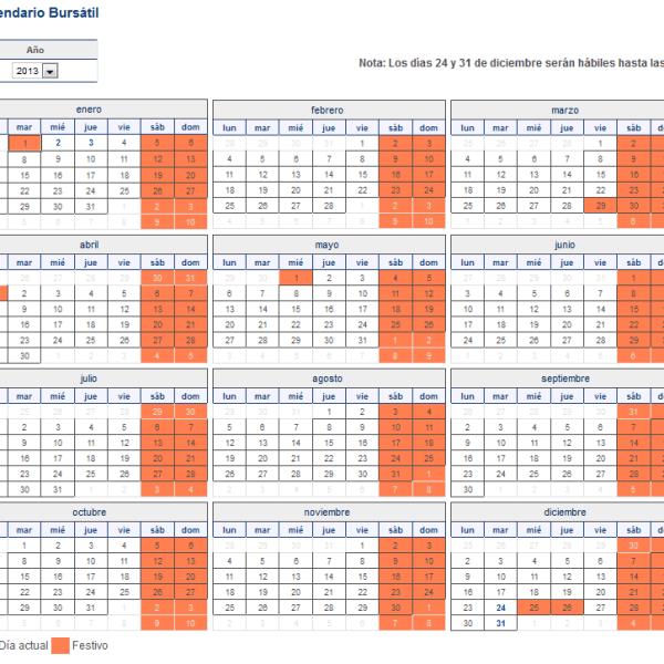 calendario bursatil 2013