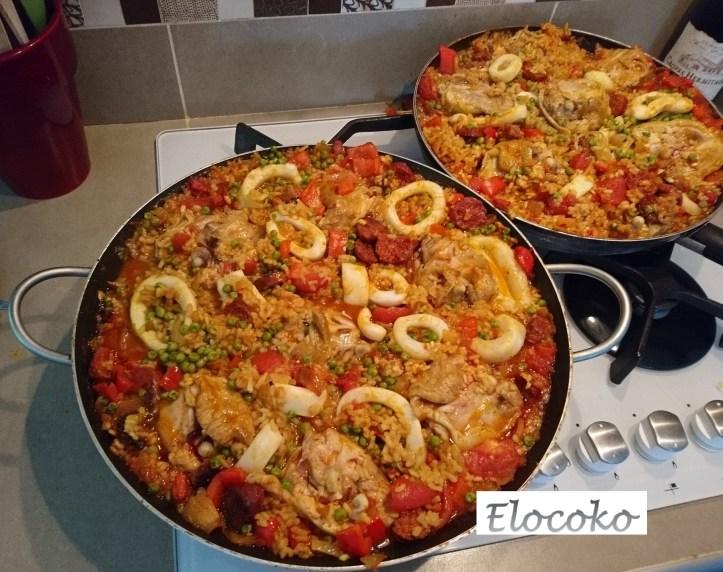 paella - recette espagnole - poulet, chorizo, calamars