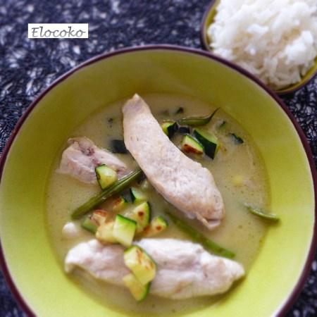 Poulet thaï, crème de coco, curry vert et citronnelle (Thaïlande)