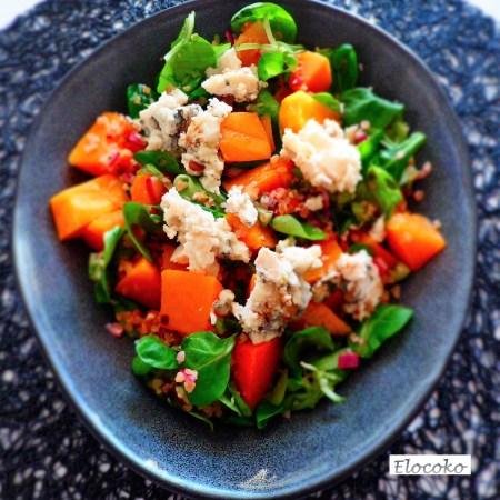 salade boulgour, noisettes, roquefort et courge butternut