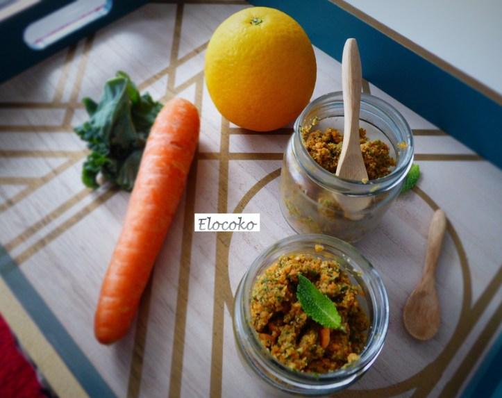 salade fiso : carotte, roquette, noisette, amande et menthe
