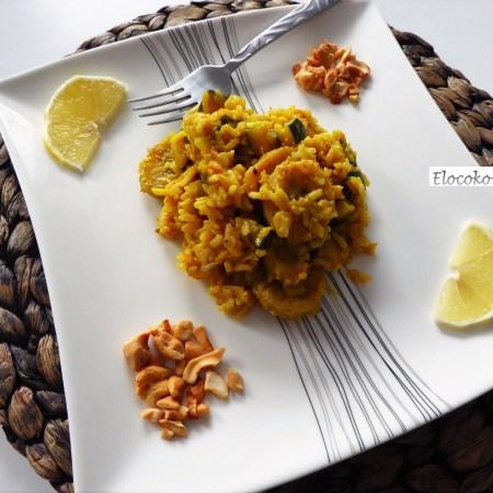 riz aux courgettes, bananes plantain et noix de cajou