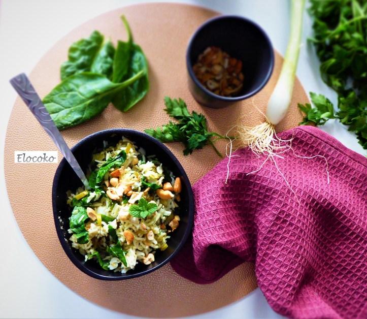Pilaf vert de riz thaï et noix de cajou
