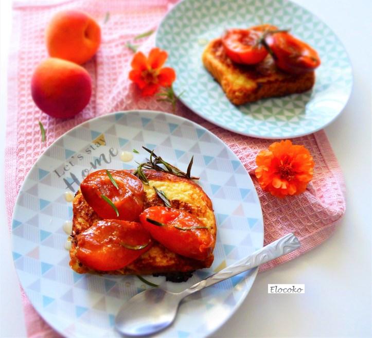 brioche perdue aux abricots rôtis, romarin et miel