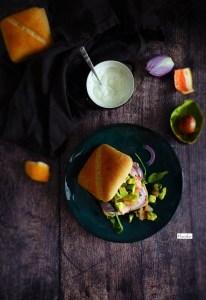 burger healthy saumon pamplemousse, sauce fromage blanc