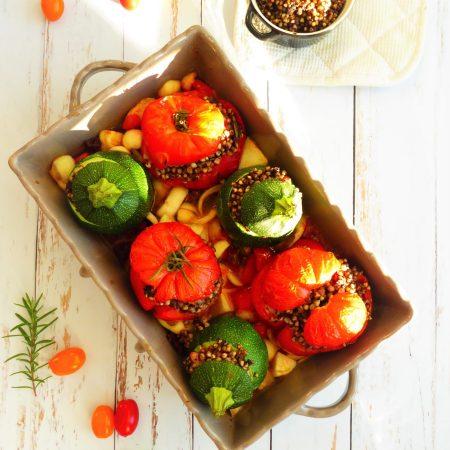 401-légumes farcis (tomates courgettes) sarrasin et tapenade