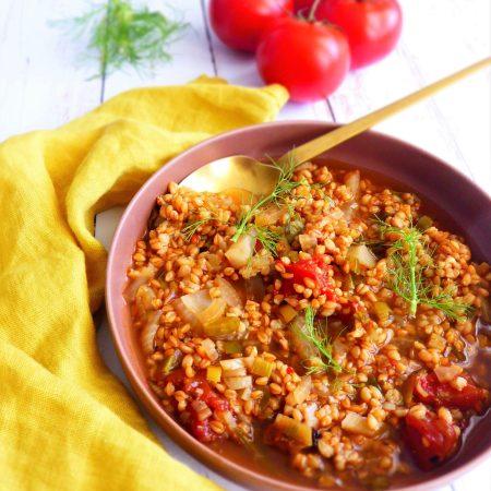 408-soupe estivale de petit épeautre-fenouil tomate