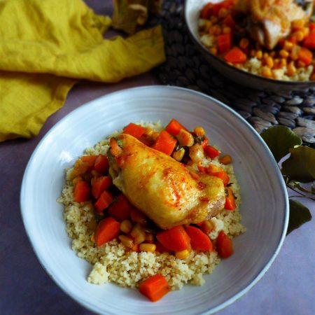 Poulet maïs carotte céleri paprika