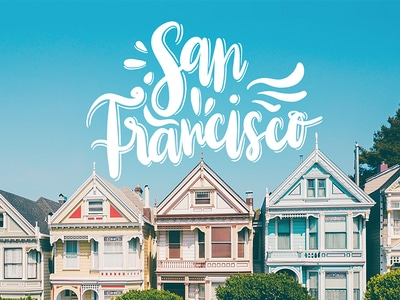 san francisco houses lettering by Miruna Sfia