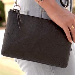 sac bandoulière noir vegan piñatex cuir d'ananas fabriquée en france éthique écologique éco-responsable