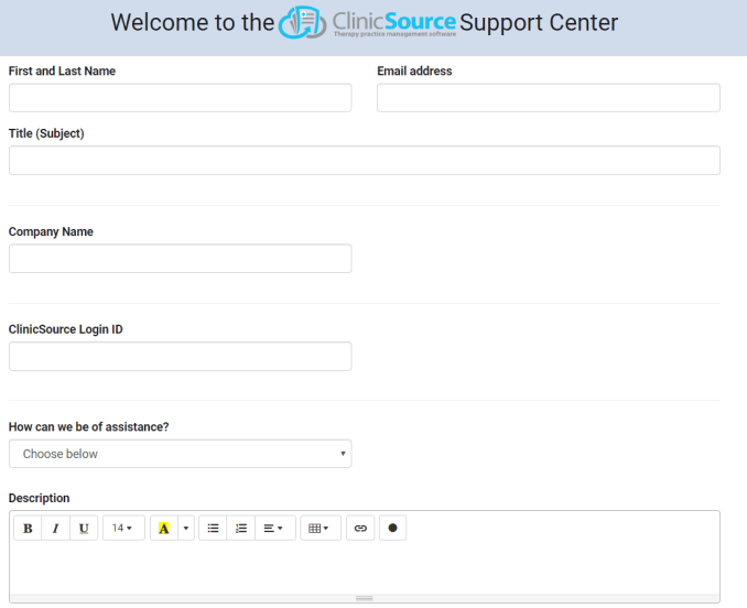 Clinic Support Page