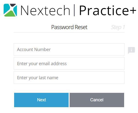 Recovering Nextech Practice+ Password