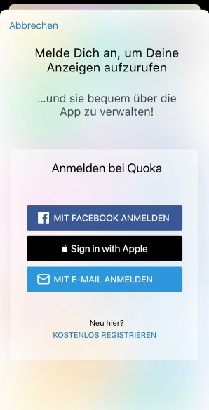 Quoka facebook login