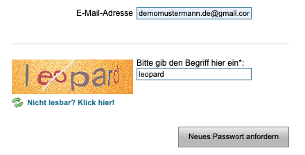 Fischkopf Login Passwort vergessen