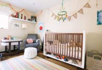 Modern Baby Nursery Rooms Ideas with Simple and Colorful Concepts with Pattern and Unique Baby Crib Design Part 27