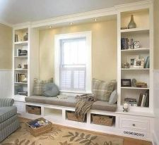 Bay Window seating with Storage and Book Shelf Part 29
