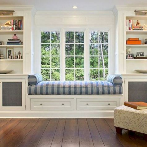 Bay Window seating with extra features Like Storage and Book Shelf Part 21