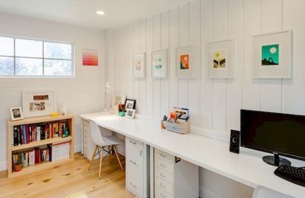 Minimalist Small Home Office Ideas with White Desk Part 21