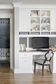 Minimalist Small Home Office Ideas with White Desk Part 22