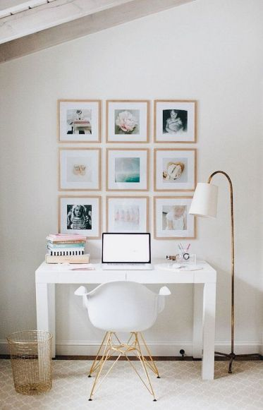 Minimalist Small Home Office Ideas with White Desk Part 23