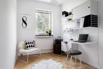 Minimalist Small Home Office Ideas with White Desk Part 28