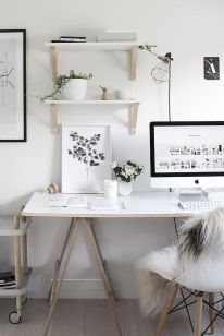 White Desk Ideas for Modern Home Office Design Part 36
