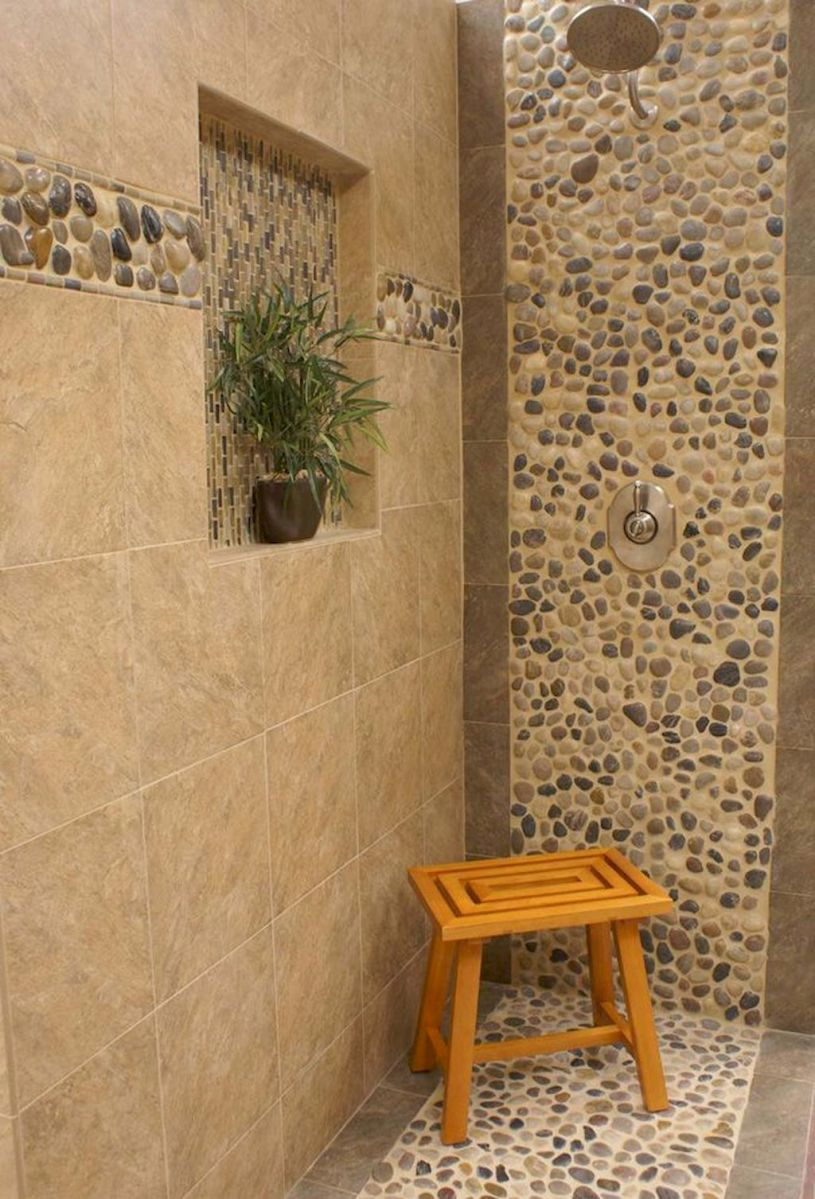 Best bathroom pebble floor designs that add natural bathroom look Part 14