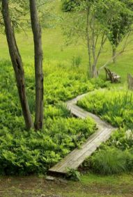 Garden wooden pathways that look blending with nature Part 19