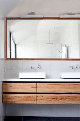 Modern bathroom designs with floating wood vanity and wallmounted bathroom cabinets Part 12