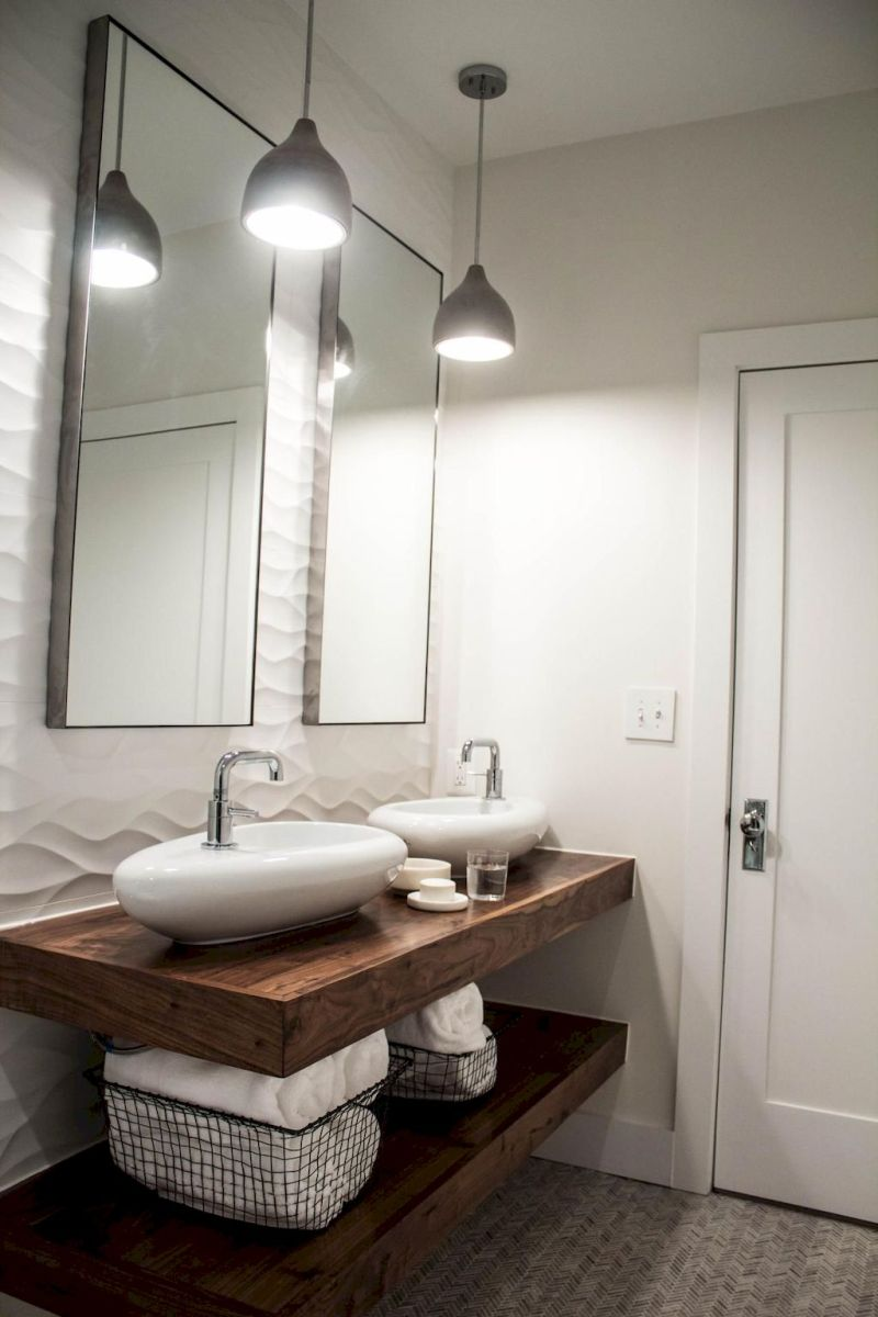 Modern bathroom designs with floating wood vanity and wallmounted bathroom cabinets Part 19