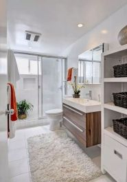 Modern bathroom designs with floating wood vanity and wallmounted bathroom cabinets Part 8