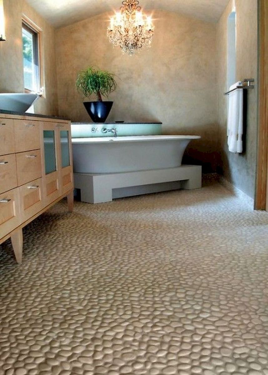 Modern Bathrooms with Pebble Tile Floors