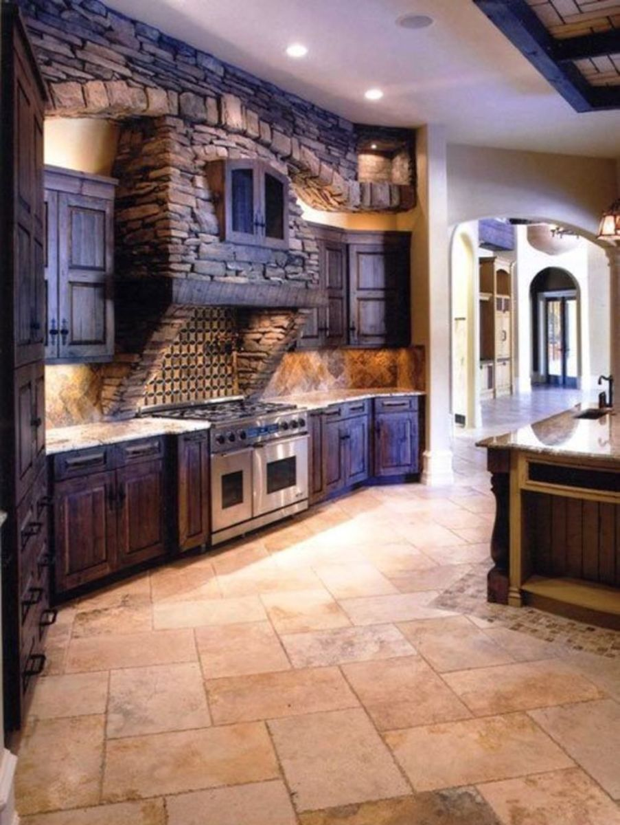 Natural Stone Floor Ideas that Looks Amazing in Traditional and Vintage Kitchen Styles Part 6