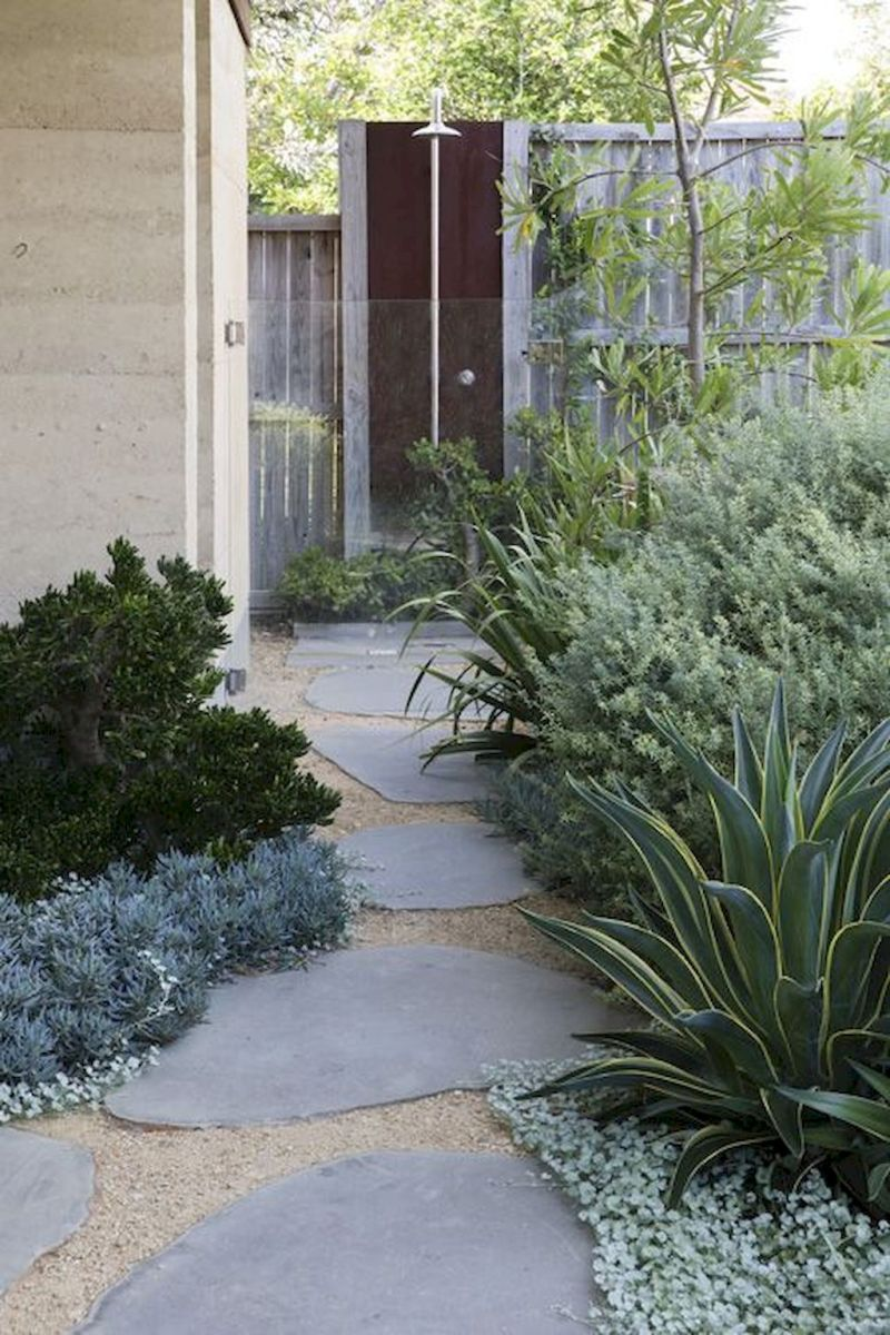 Natural garden walk ways from large stones and flagged stones Part 25