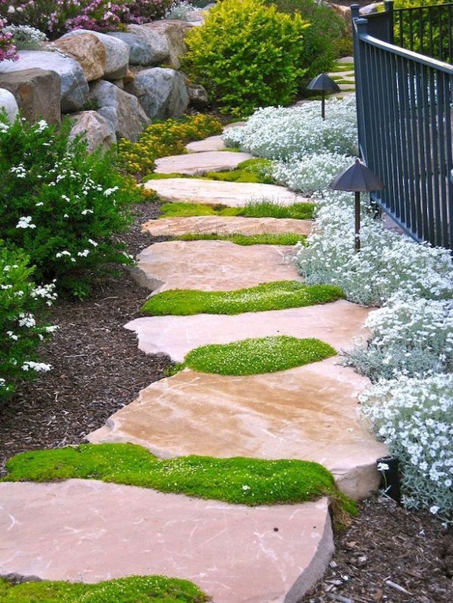 Natural garden walk ways from large stones and flagged stones Part 30