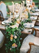 Refreshing spring wedding garland with green and ivory color theme decoration over the walls wedding arch and tables Part 13