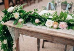 Refreshing spring wedding garland with green and ivory color theme decoration over the walls wedding arch and tables Part 3