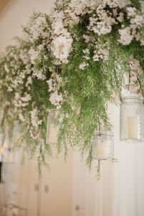 Refreshing spring wedding garland with green and ivory color theme decoration over the walls wedding arch and tables Part 7