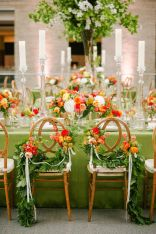 Refreshing spring wedding garland with green pink peach and ivory color themes over the walls wedding arch and tables Part 22