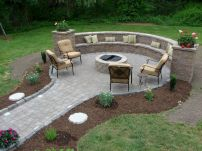 Round firepit design for outdoor living and gathering space ideas Part 11