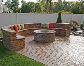 Round firepit design for outdoor living and gathering space ideas Part 16