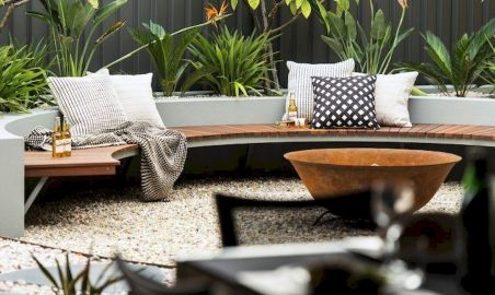Round firepit design for outdoor living and gathering space ideas Part 19