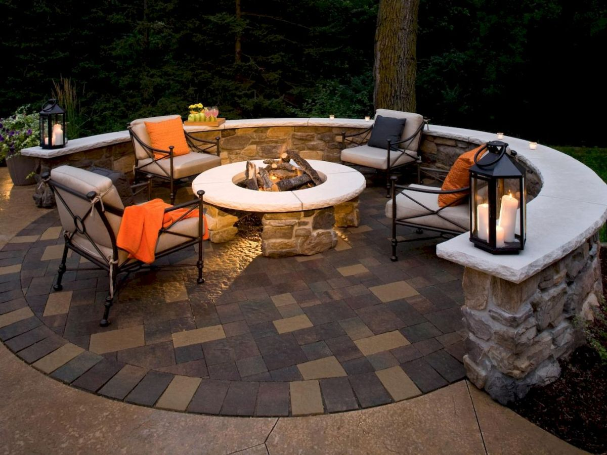 Round firepit design for outdoor living and gathering space ideas Part 24