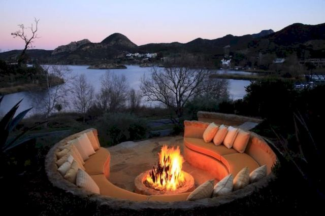 Round firepit design for outdoor living and gathering space ideas Part 9