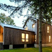 Impressive wood clad exterior to show Saint Placide Chalet with extensive concept that grabs more warmth welcome for the family (4)