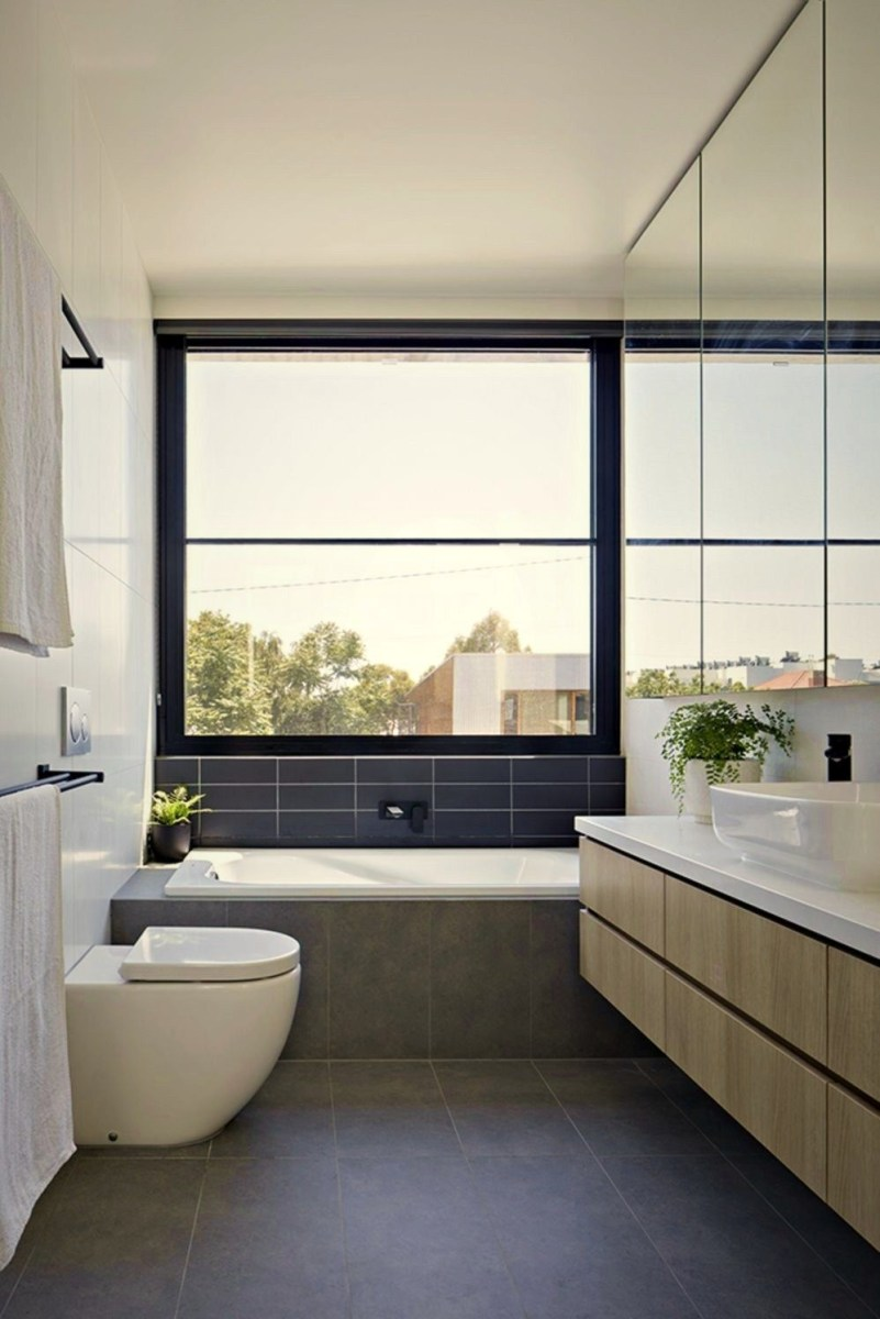 Modern interior designed in simple two tones color scheme Brunswick Rd House (3)