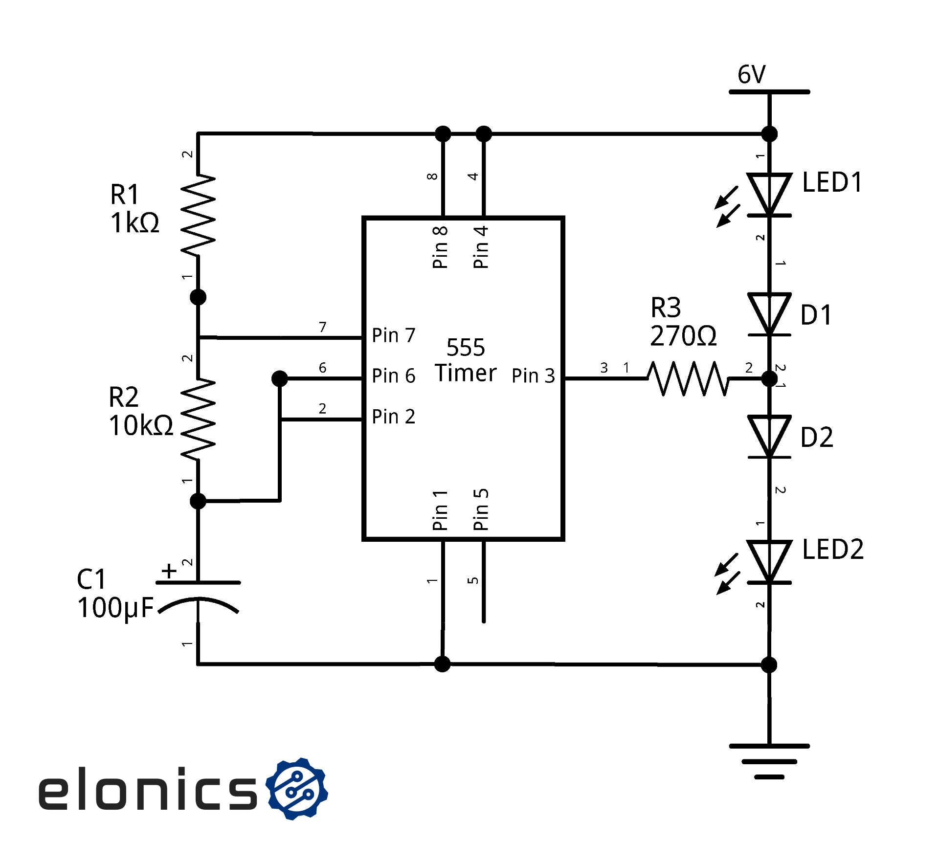 hight resolution of dual led flasher circuit using 555 timer elonics dual led flashing circuit using 555 timer schematic