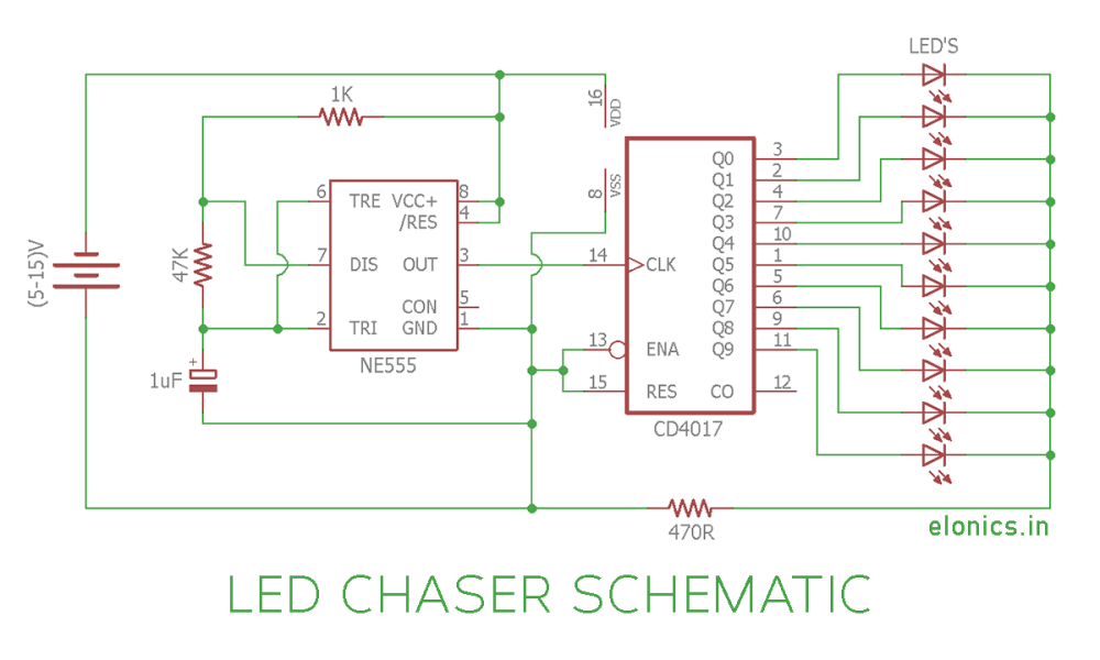 medium resolution of led chaser circuit sequential led flasher using 4017 ic and 555 circuit diagram led chaser