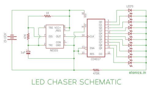 small resolution of led chaser lights circuit diagram