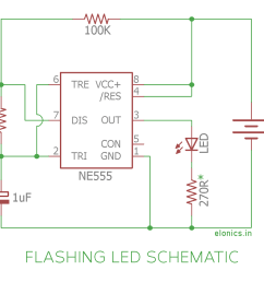 flashing led circuit using 555 timer ic schematic [ 1200 x 999 Pixel ]